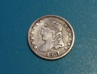 1831 Capped Bust Liberty Philadelphia Five Cent Half Dime Coin .VF Condition!