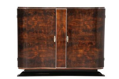Art Deco Walnut Commode with Curved Doors
