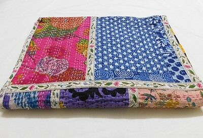 Indian Handmade Patchwork Kantha Quilt Throw Cotton Queen Size Colourful Boho