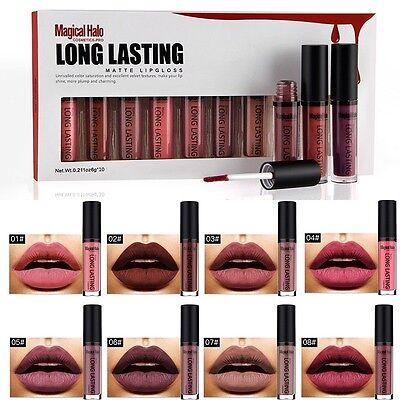 10Pcs Magic Halo Matte Liquid Lipstick Waterproof Lip Gloss Set Kit""
