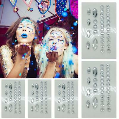 Adhesive Face Gems Rhinestone Jewels DIY Festival Party Body Glitter Stickers""