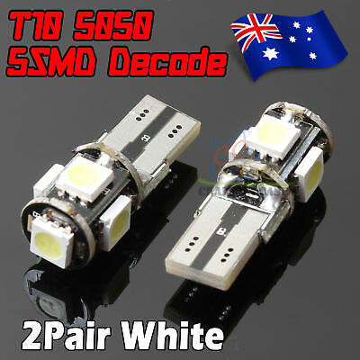 4x CANBUS T10 Wedge 5SMD Parker Number Plate LED Bulbs W5W 194 168 131 WHITE AU
