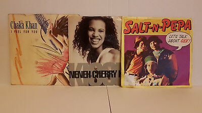 "80's & 90's x3 Vinyl Bundle inc Chaka Khan, Neneh Cherry & Salt N Pepa 7"" Vinyls"