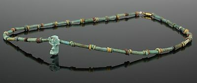 Beautiful Ancient Egyptian New Kingdom Faience Bead & Amulet Necklace (105)