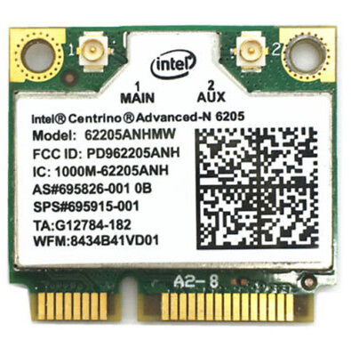 Intel Centrino Advanced N 6205 Wifi Card 62205ANHMW HP # 695826-001 695915-001