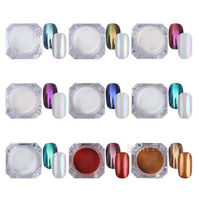 BORN PRETTY 9 Boxes Chameleon Mirror Powder Dust Nail Art Glitter Pigment Decor