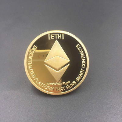 Gold Plated ETH Commemorative Collectible Golden Iron Ethereum Miner Coins Gift