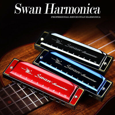 Swan Harmonica 10 Hole Key of C Diatonic Blues Harp Red/Black/Blue Plastic Case