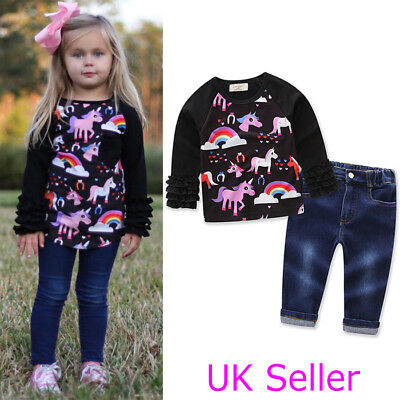 Kids Baby Girls Unicorn T Shirt Tops Denim Pants Jeans Outfits Clothes Set 1-7Y