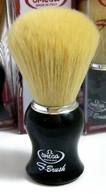 Omega S11206 - Synthetic Bristle Shaving Brush Black Handle