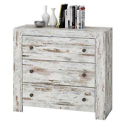 Kommode Sideboard Shabby Chic Vintage Weiss 90 Cm 3 Schubladen Used