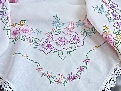 Gorgeous Vintage Hand Crafted White Cotton Tablecloth 90 X 85 Cm.