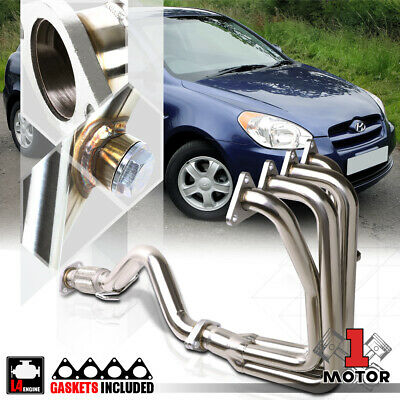 Stainless Steel 4-1 Exhaust Header Manifold+Mid-Pipe for 06-11 Accent/Rio 5 1.6