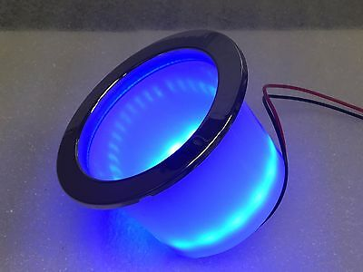 RV Marine Blue LED Lighted Plastic Cup Holder Stainless Steel Ring Drain Hole