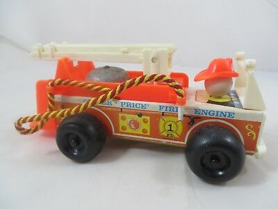 Vintage Fisher Price Little People Wood Fire Engine Truck 1968 Makes Sounds