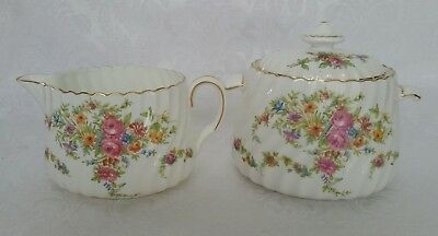 Minton England Lorraine Creamer And Sugar Bowl Floral W/gold Trim