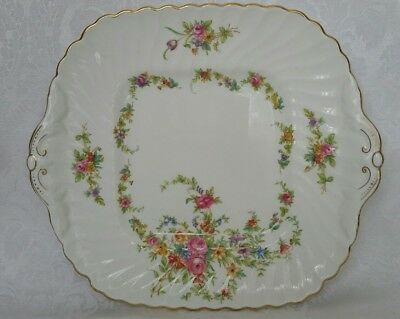 "Minton England Lorraine Square Handled  Cake  Platter 10"" Floral W/gold Trim"