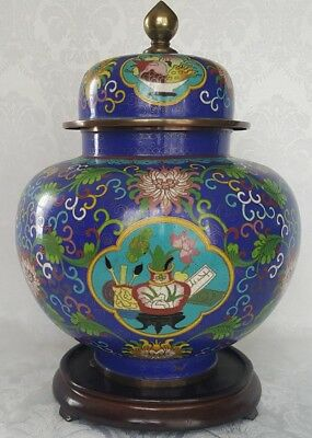 "Amazing Detail Heavy Antique Chinese Cloisonne Ginger Jar 13"" Enamel on Bronze"