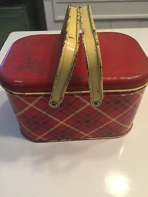 Small red and yellow vintage plaid lunchbox with two metal handles, nice REDUCED