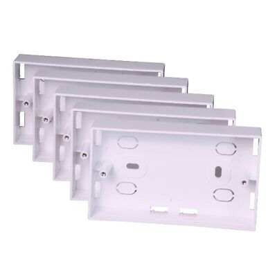 5 x Surface Mounted Back Box 24mm Wall Double 2 Gang Electrical Socket Pattress
