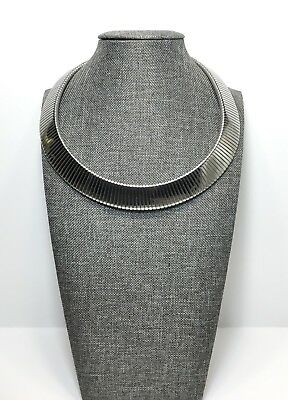 Vintage Statement Runway Large Snake Chains Silver Tone Collar Necklace