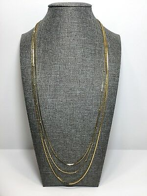 Fashion Multi Strand Gold Tone Small Beads Chain Necklace