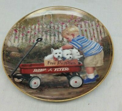 The Danbury Mint Donald Zolan PUPPY LOVE  Limited Edition Collector Plate! Nice!
