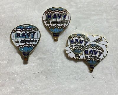 "Vintage Hot Air Balloon Pins 1987 Navy ""An Adventure"""