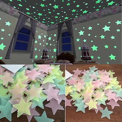 3D Star Glow In The Dark 100pcs Luminous Ceiling Wall Stickers Baby Bedroom JR15