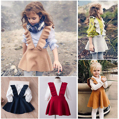Toddler Kids Baby Girls Autumn Outfits Knitting Sweat Dress Clothes One-pieces