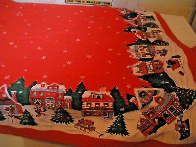 """Vintage Christmas Tablecloth Red with Winter Scenes on Edges 80"""" X 62"""""""