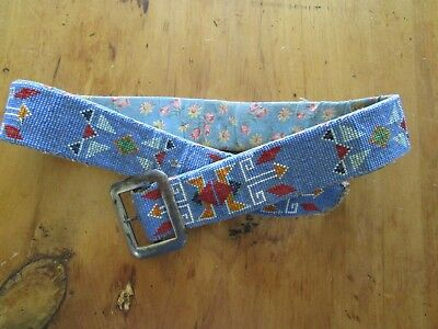"""Vintage / Antique Native American Indian Beaded Decorated Belt 35"""" Long"""