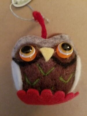 New Stuffed Owl Cloth Ornament Brown Body White Wings Midwest CBK
