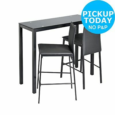 3048109adca ARGOS HOME LIDO Glass Bar Table and 2 Chairs - Black - £79.99 ...