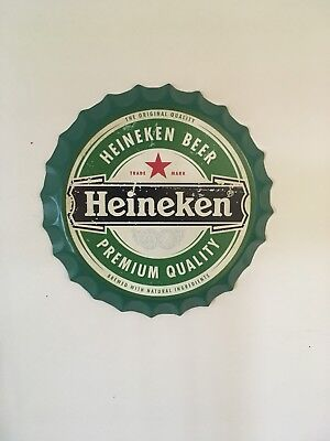 Heineken Tin Beer Bottle Cap Sign