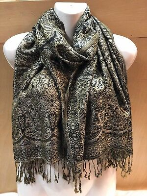 2Ply Thick Metallic Shinny Pashmina Style B6 Black Wrap Scarf All Season