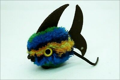 alter 9cm WOLLFISCH STEIFF FISCH blau WOLLTIER old woolen fish blue 7271/093,54""
