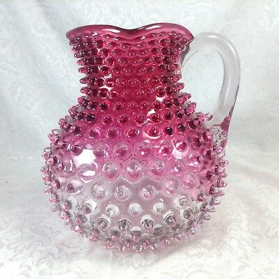 Hobbs Cranberry Hobnail Ball Pitcher Clear Vintage Glass Square Mouth
