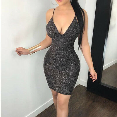 Women Hollow Out Sexy Mini Dress Short Bodycon Evening Party Clubwear Dress S