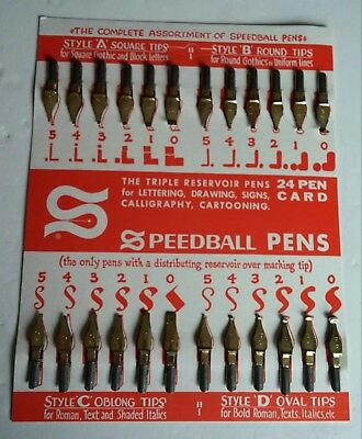 Vintage Set of 24 Speedball Pen Nibs in Original Box Styles A B C D