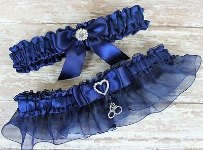 d9cf19c6ad4 PLUS SIZE NAVY Blue Wedding Garter Set With Handcuffs Charm