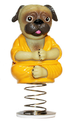 Buddha Pug Dog Bobble Head Dashboard Nodding Bobbing Head