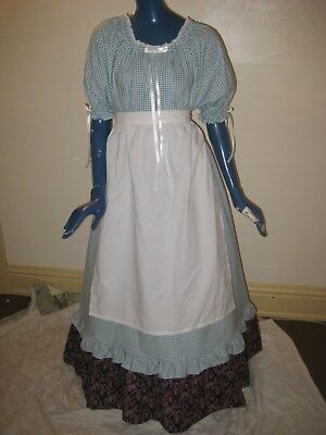 1X - 3X Pioneer Colonial Prairie Frontier Trek Country Dress & Apron Women Blue