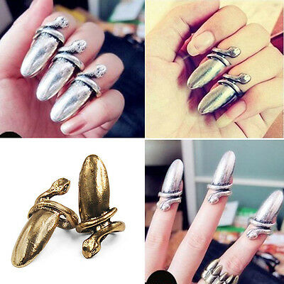 Celebrity Antique Bronze Plated Alloy Snake Finger Nail Tip Ring Jewelry Claw