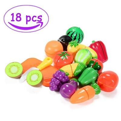 FidgetKit 18 Pieces Pretend Play Food Set Fruits and Vegetables Play Cutting Toy