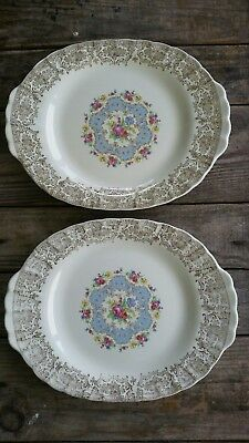 "Limoges Lyric  WARRANTED 22K Gold Trim Serving Platters 11 3/4"" long 9 1/4"" wide"