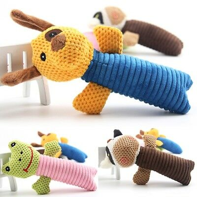 Dog Toy Play Pet Puppy Chew Bite Squeaker Squeaky Short Plush Sound Animal Toys
