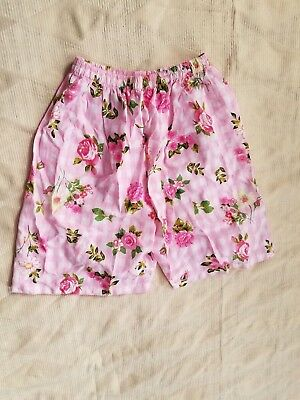 Vintage Girls Pink White Check Floral  High Waisted Shorts Waist - 22""