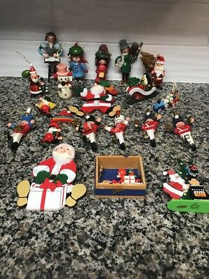 Lot Of 21 Vintage Wood Christmas Ornaments