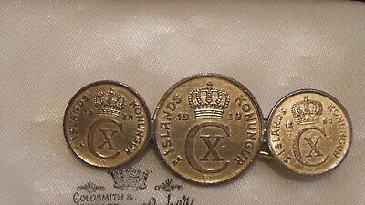 Vintage WWII Souvenir Three Coin Brooch Pin ICELAND CIRCA 1930s Islands Konungur